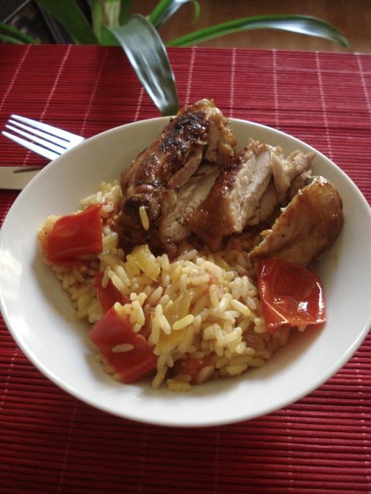pulpe de pui cu orez oriental